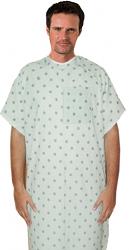 Patient gown 1 chest pocket half sleeve back open, Black Leaf Prints, Sizes XS-9X