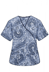 Top mock wrap 3 pocket half sleeve in Blue Paisley Print with Black Piping