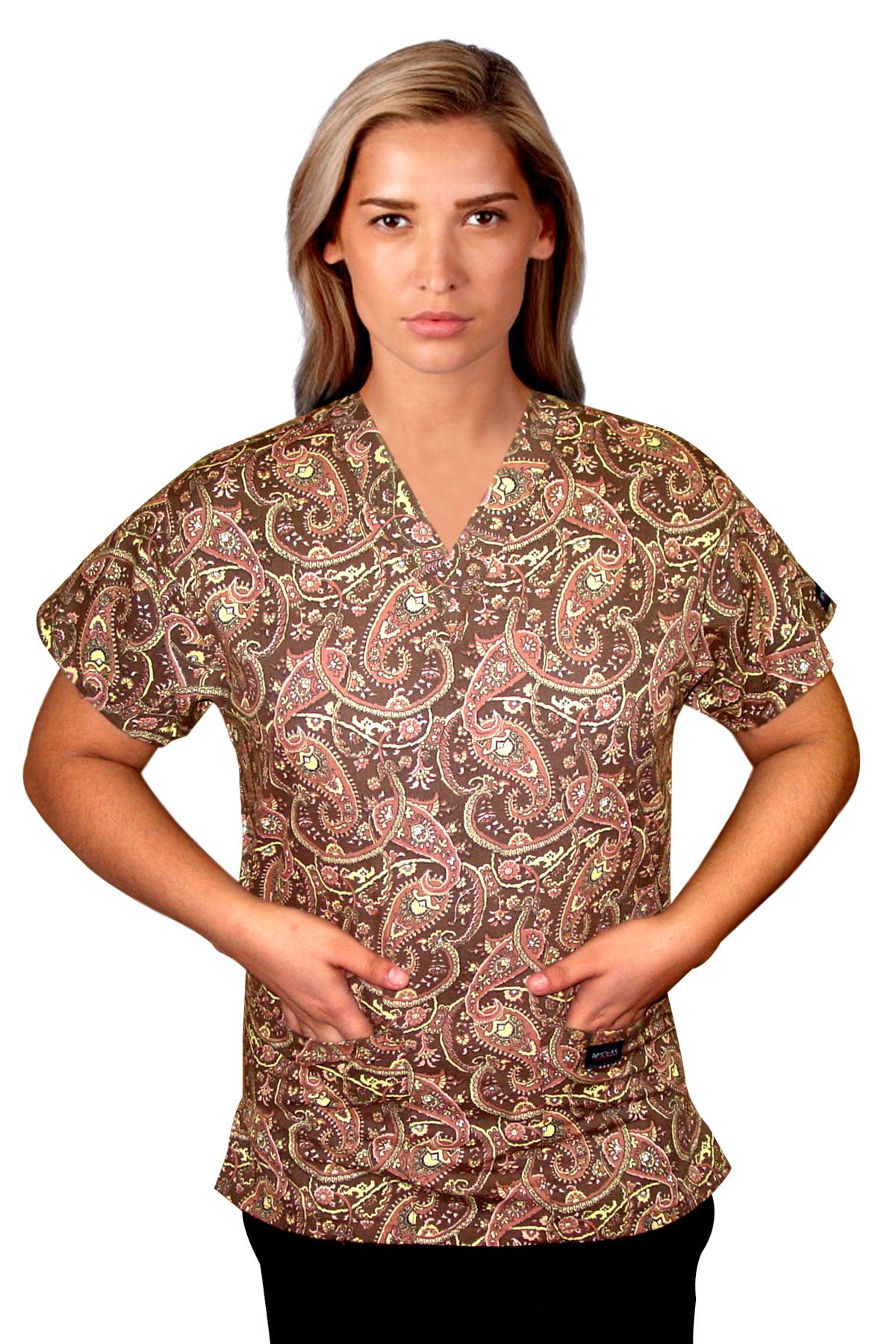 Printed scrub set 4 pocket ladies half sleeve in brown daisy print (2 pocket top and 2 pocket pant)