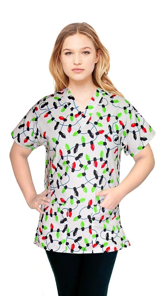 Printed scrub set 4 pocket ladies half sleeve in light print (2 pocket top and 2 pocket pant)