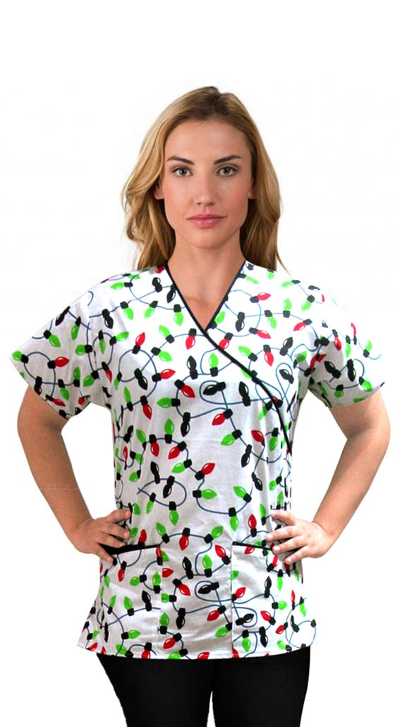 Printed scrub set mock wrap 5 pocket half sleeve in light print with black (top 3 pocket with bottom 2 pocket boot cut)