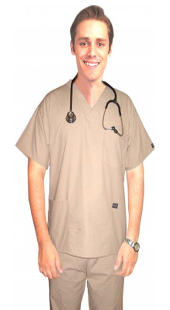 Stretchable Scrub set 4 pocket solid unisex half sleeve (3 pocket top with normal 1 pocket pant) in 97% Cotton 3% Spandex