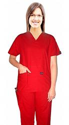 Stretchable Scrub set 5 pocket solid ladies half sleeve (top 2 pocket with 1 pencil pocket and pant 1 cargo pocket & 1 back pocket) in 97% Cotton 3% Spandex