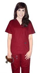 Stretchable Scrub set 5 pocket solid ladies half sleeve (top 2 pocket with 1 pencil pocket and pant with 2 cargo pocket) in 97% Cotton 3% Spandex
