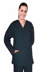 Stretchable Scrub set 4 pocket solid ladies front open collar with snap buttons half sleeve (2 pocket top 2 pocket boot cut pant) in 97% Cotton 3% Spandex