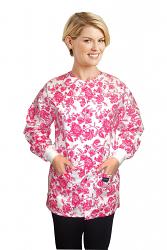 Jacket 2 pocket printed unisex full sleeve in petal red print with rib