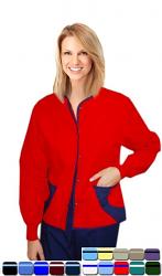 Jacket 2 pocket ladies hip flip full sleeve short length style jacket