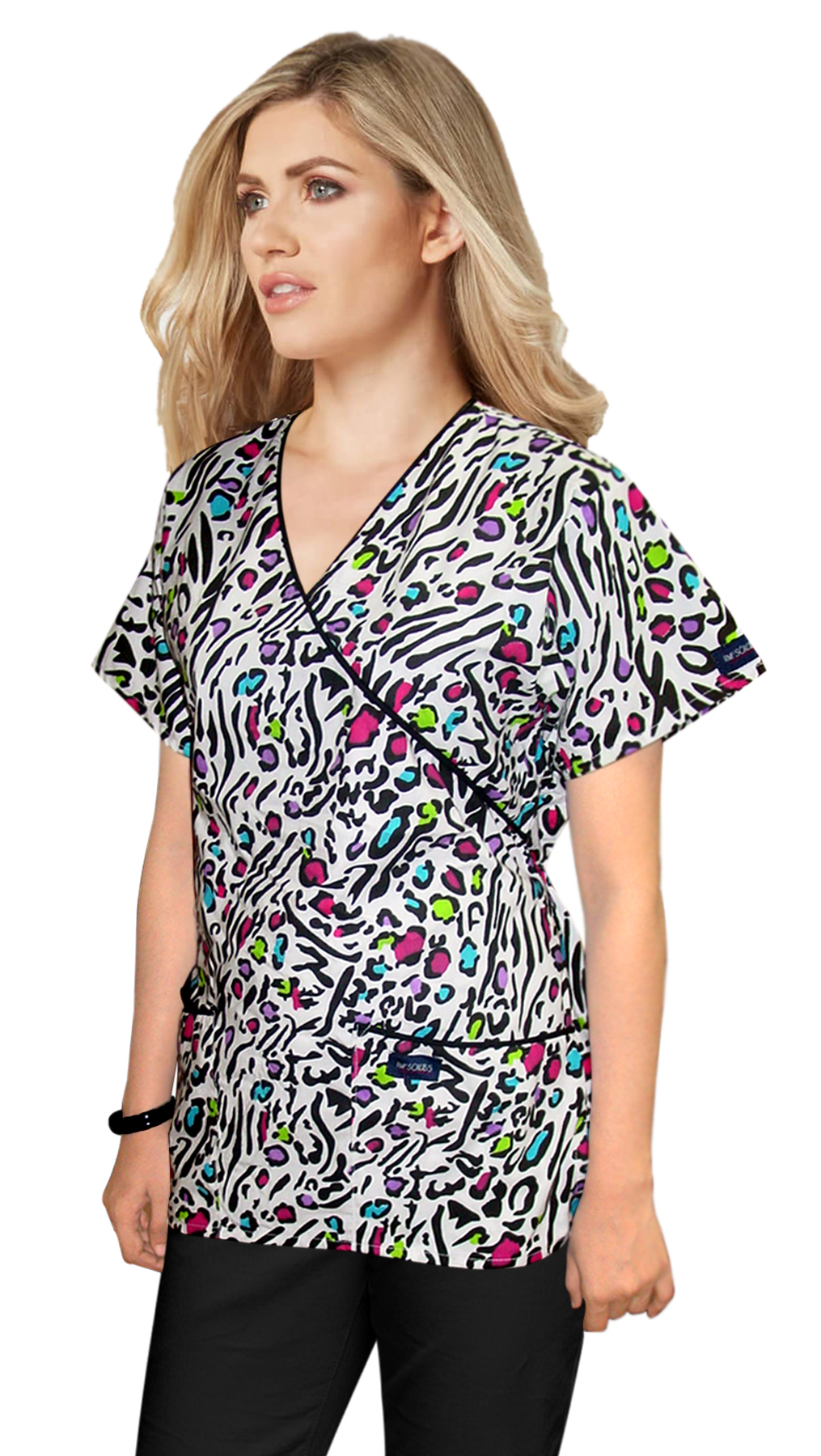 Printed scrub set mock wrap 5 pocket half sleeve in Leopard print with black piping (top 3 pocket with bottom 2 pocket boot cut)