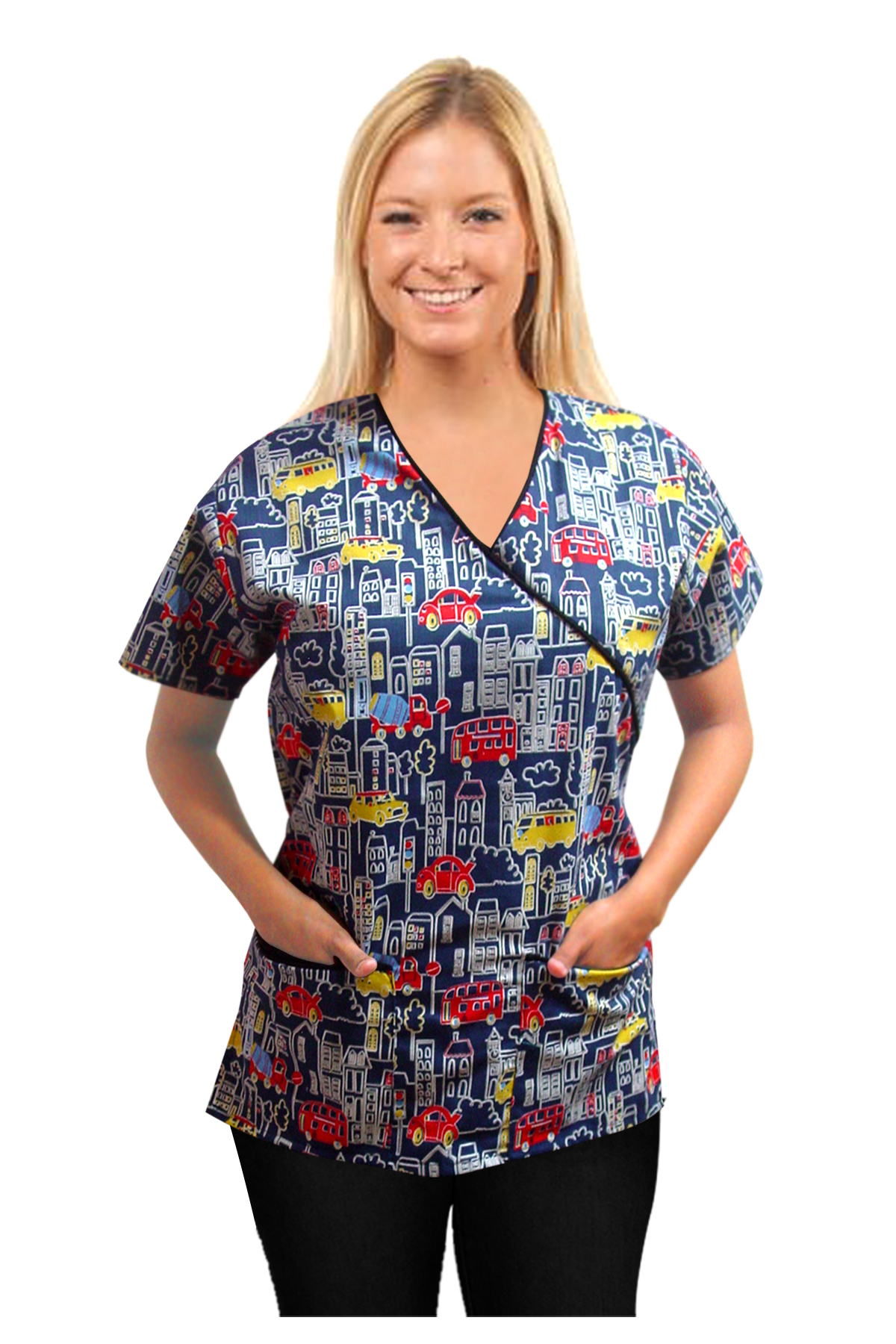 Printed scrub set mock wrap 5 pocket half sleeve in Building and bus Print with black piping (top 3 pocket with bottom 2 pocket boot cut)