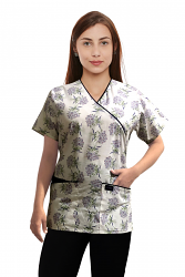 Top mock wrap 3 pocket half sleeve in Flower Bouquet with black piping