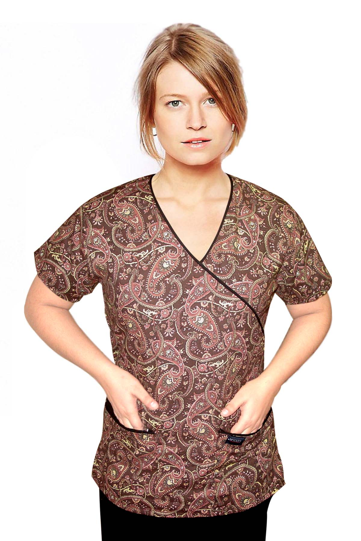 Top mock wrap 3 pocket half sleeve in Brown daisy print with black piping