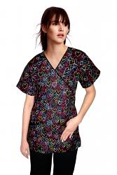 Printed scrub set mock wrap 5 pocket half sleeve (top 3 pocket with bottom 2 pocket boot cut)