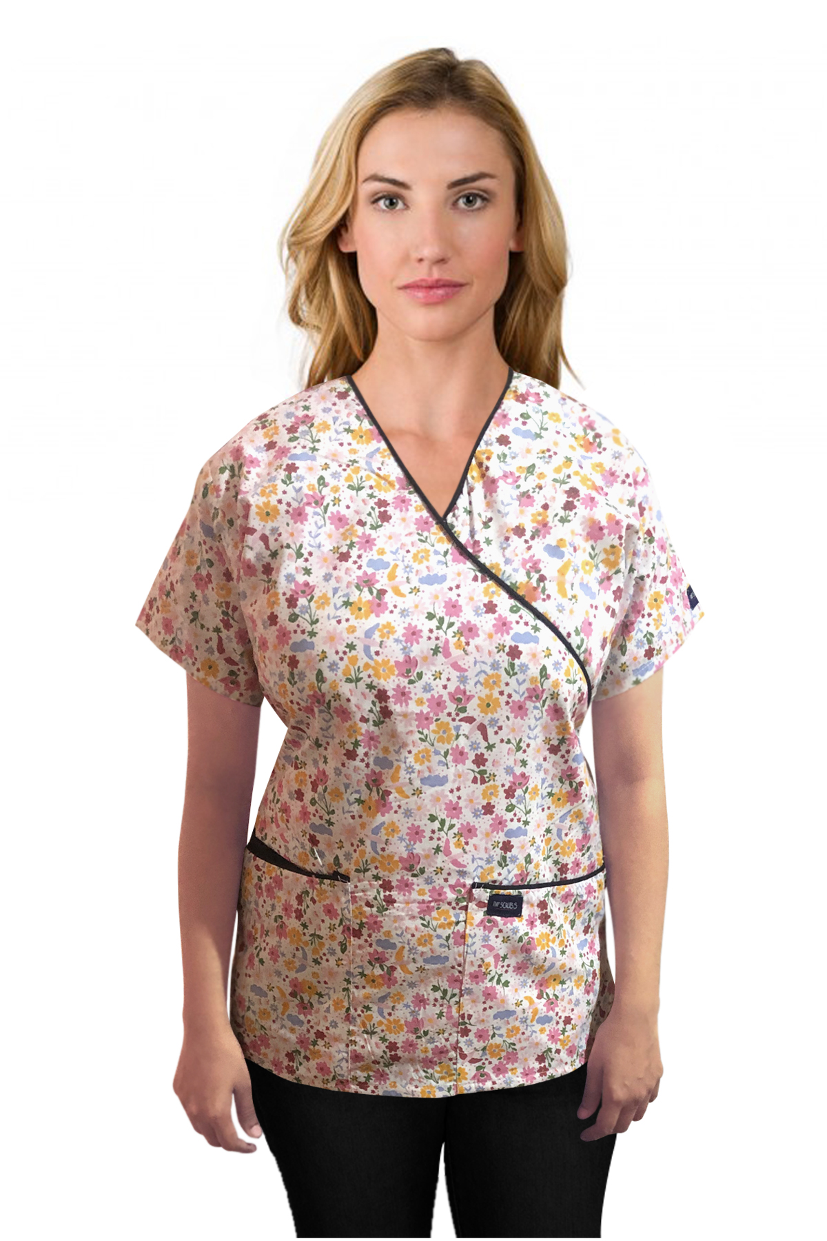Printed scrub set mock wrap 5 pocket half sleeve in Multi flower Print with black piping (top 3 pocket with bottom 2 pocket boot cut)
