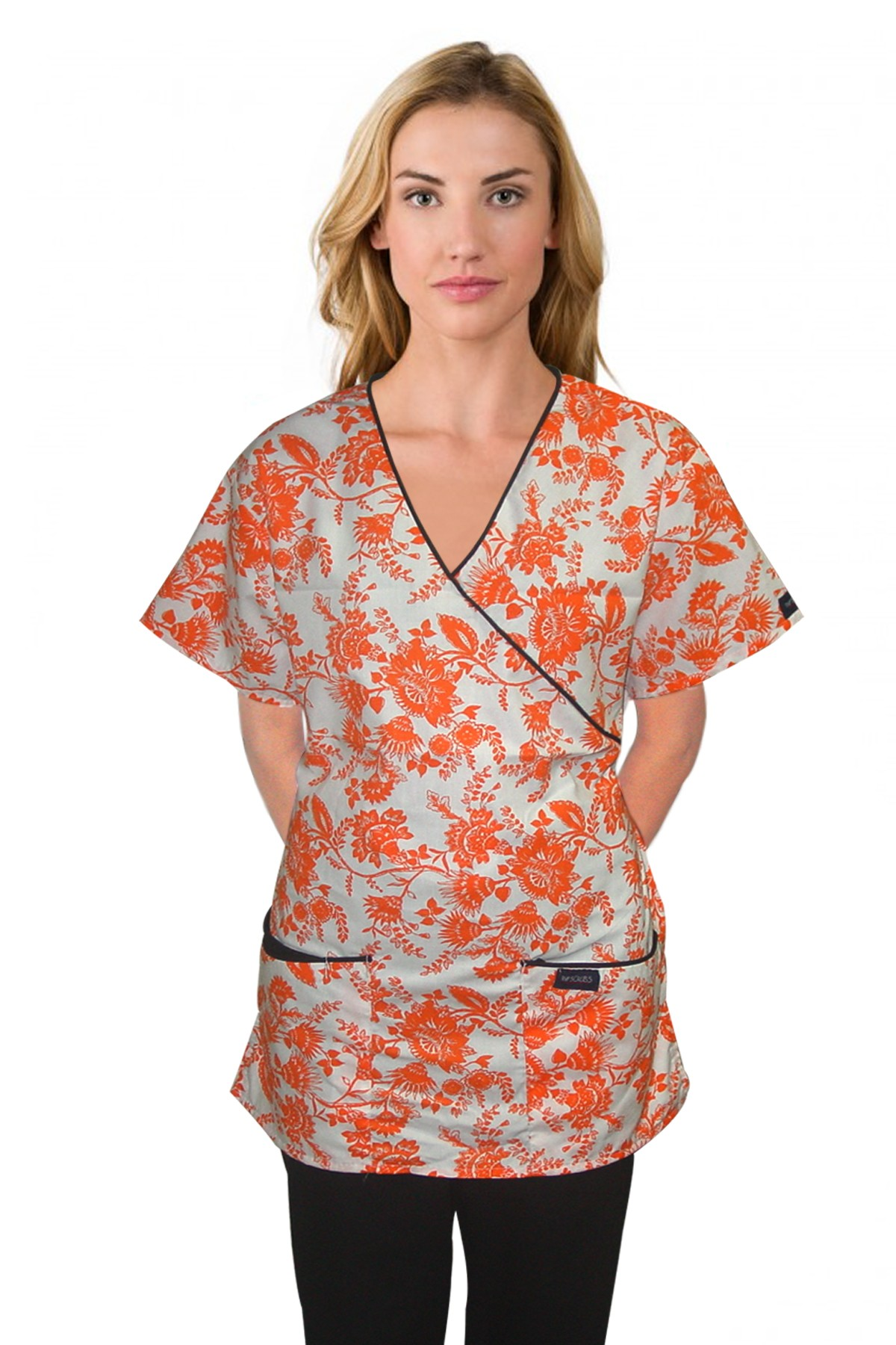 Printed scrub set mock wrap 5 pocket half sleeve petal orange print with black (top 3 pocket with bottom 2 pocket boot cut)