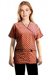 Top mock wrap 3 pocket half sleeve in Red Square with black piping