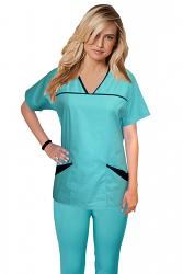Princess seam set 6 pocket solid half sleeve (top 4 pocket with bottom 2 pocket bootcut)