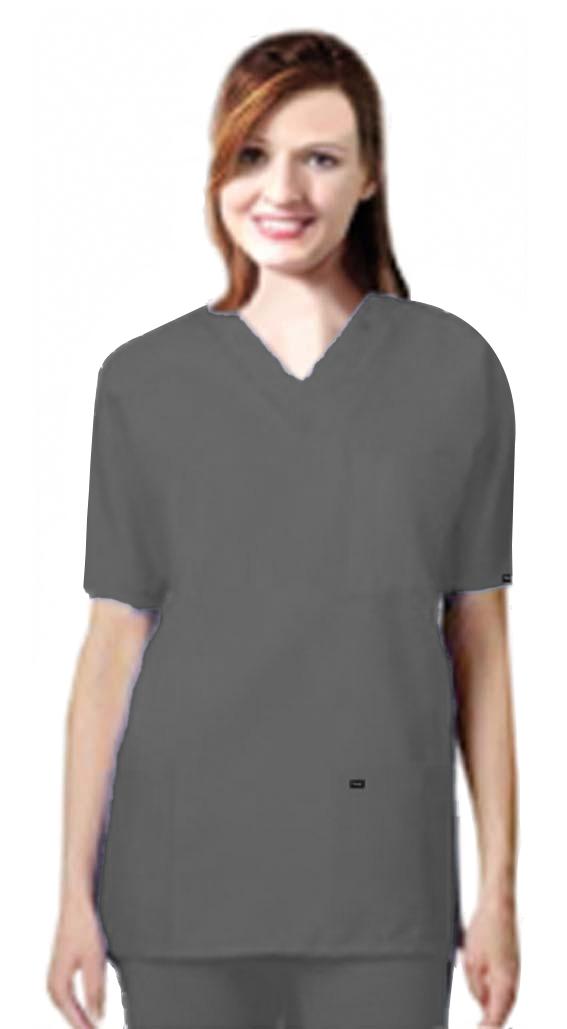Stretchable Scrub set 9 pocket unisex solid half sleeve (3 pocket top 6 pocket pant) in 97% Cotton 3% Spandex