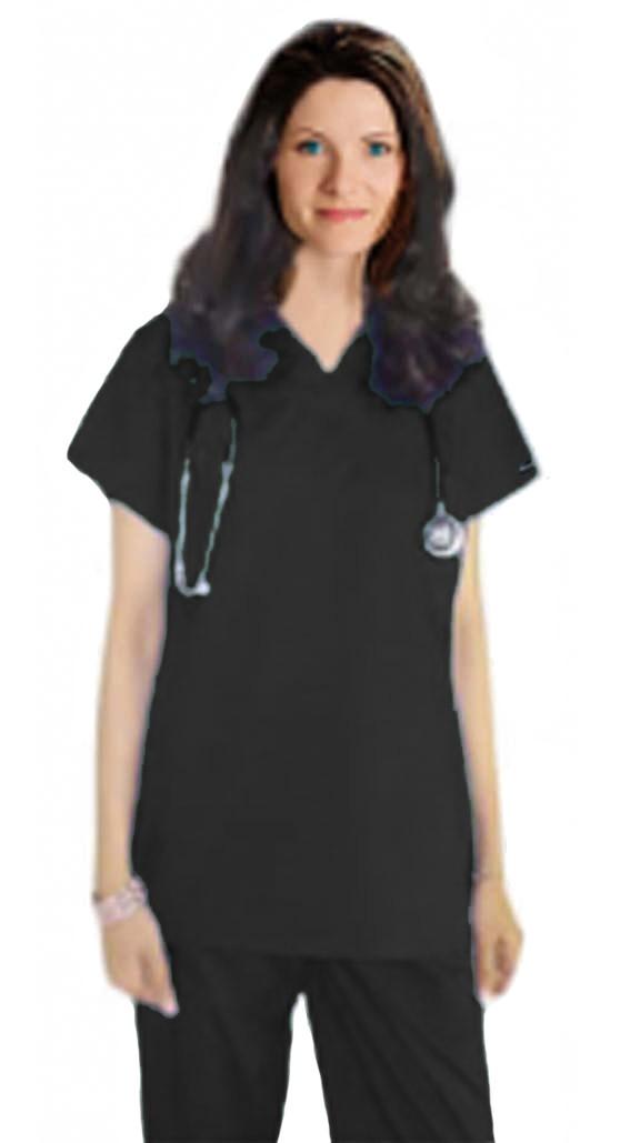Stretchable Scrub set 4 pocket unisex solid half sleeve (1 pocket top, 3 pocket pant) in 97% Cotton 3% Spandex
