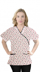 Top mock wrap 3 pocket half sleeve in Red and Black flower Print with black piping