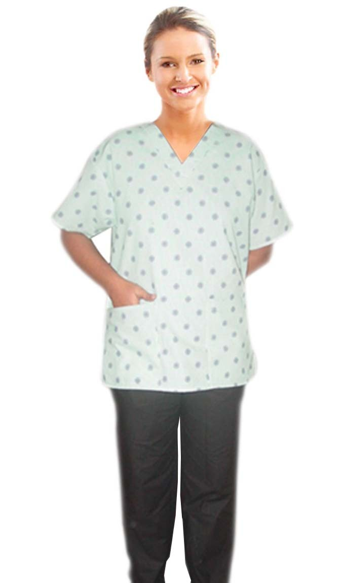 Printed scrub set mock wrap 5 pocket half sleeve in Green Square print with black piping (top 3 pocket with bottom 2 pocket boot cut)
