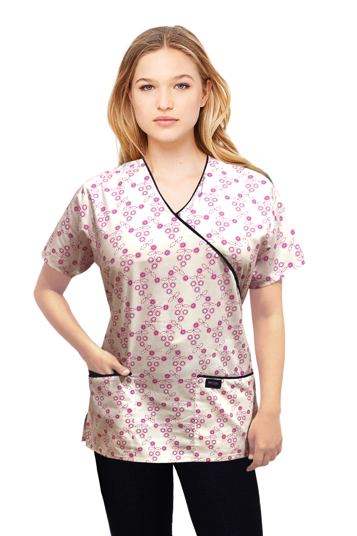 Printed scrub set mock wrap 5 pocket half sleeve in Small Pink Flower Print with black piping (top 3 pocket with bottom 2 pocket boot cut)