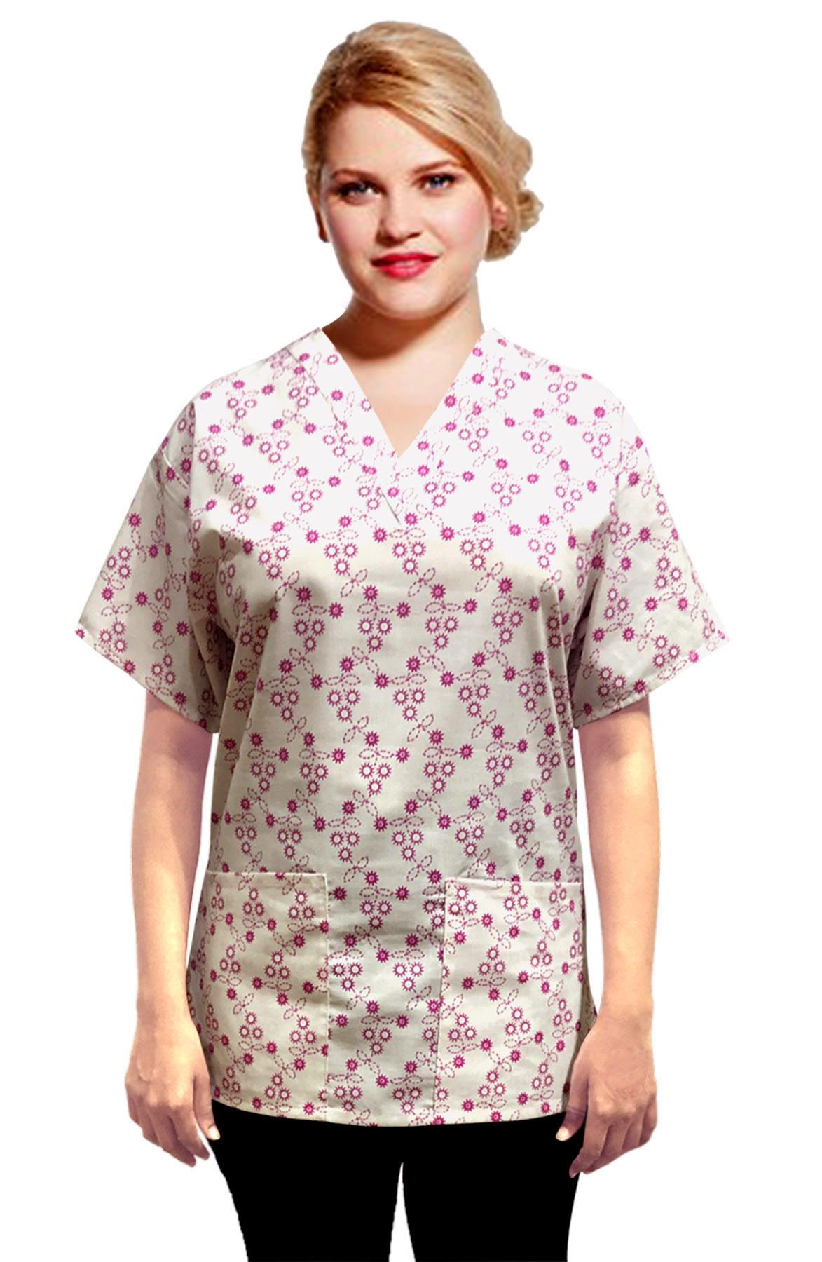 Printed scrub set 4 pocket ladies half sleeve Small Pink flower Print (2 pocket top and 2 pocket pant)
