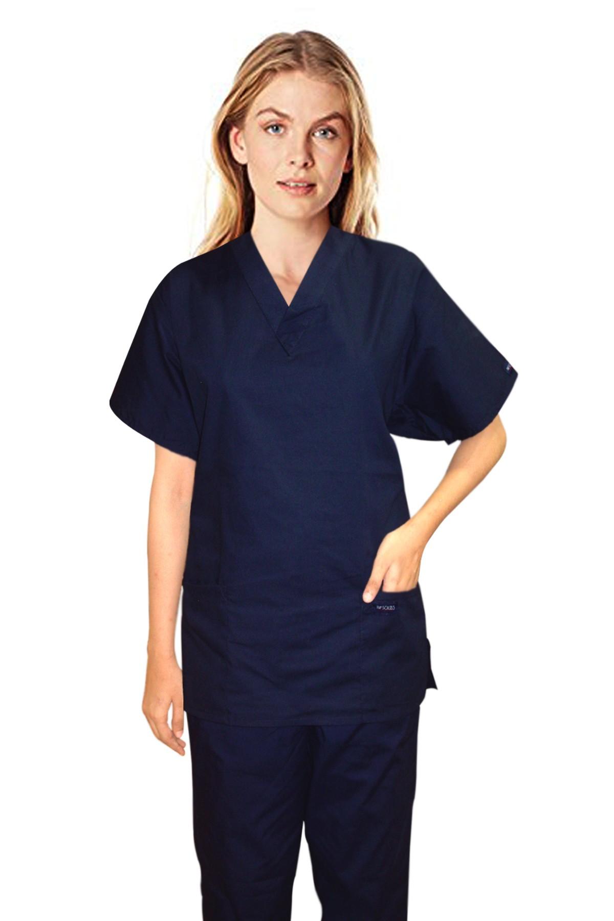 Stretchable Scrub set 3 pocket normal ladies solid half sleeve (2 pocket top 1 pocket pant) 97% Cotton 3% Spandex