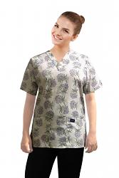 Top v neck 2 pocket half sleeve in Bouquet Flower Print