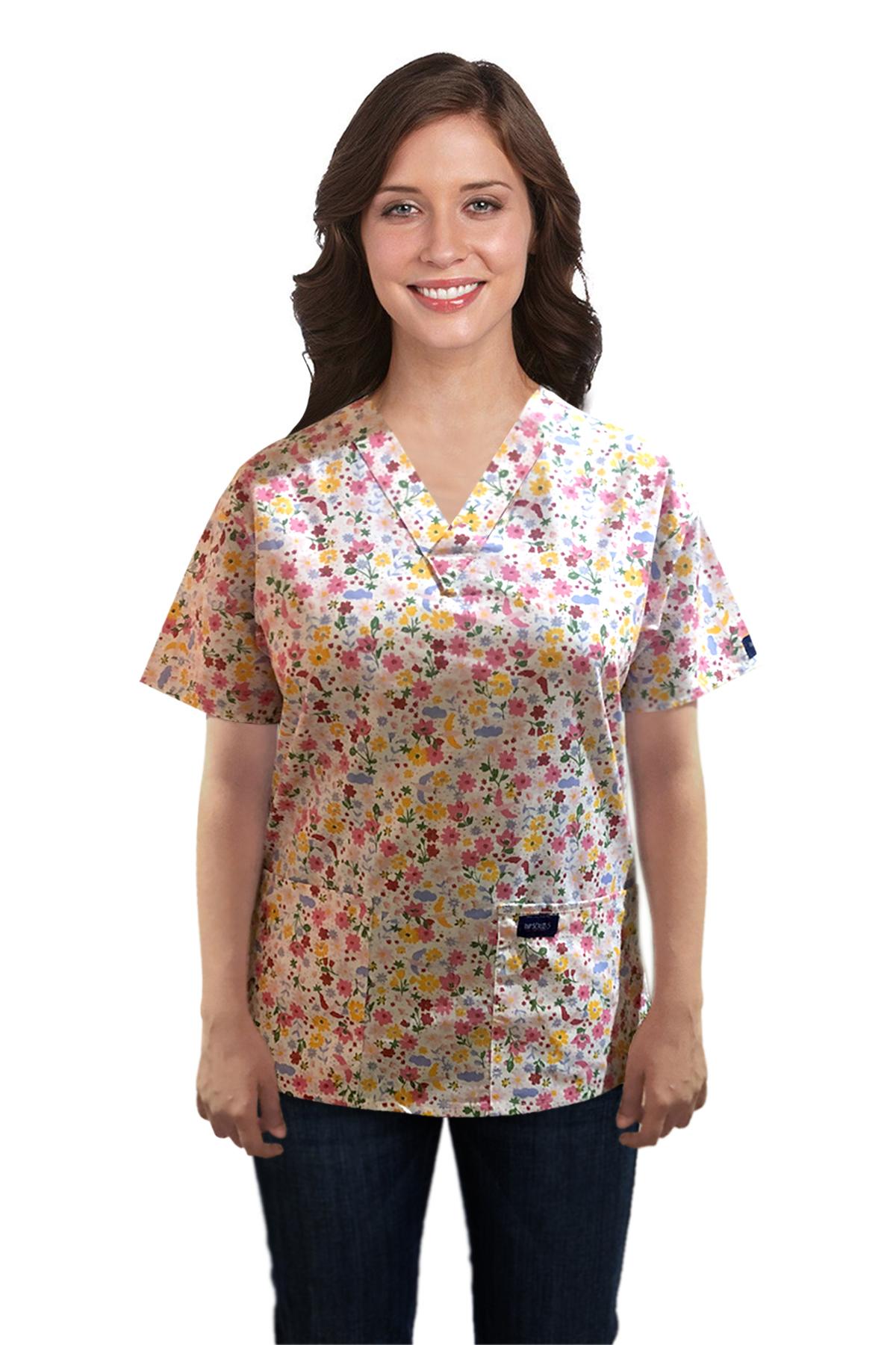 Printed scrub set 4 pocket ladies half sleeve Multi flower Print (2 pocket top and 2 pocket pant)