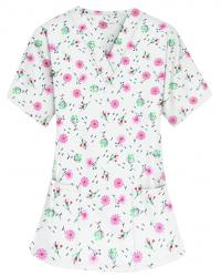 Top vneck 2 pocket half sleeve in Cherry Blossom Print