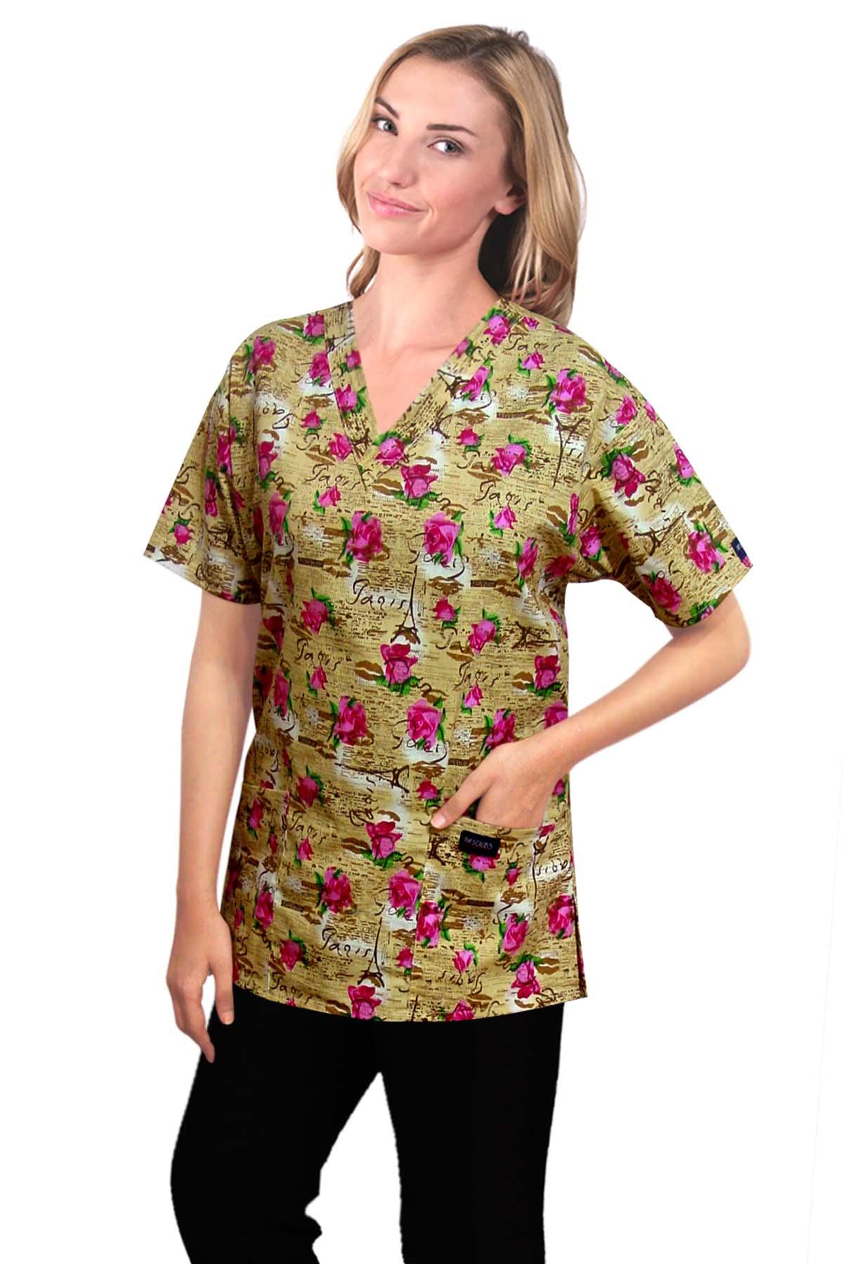 Printed scrub set 4 pocket ladies half sleeve Paris print (2 pocket top and 2 pocket pant)