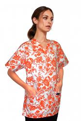 Printed scrub set 4 pocket ladies half sleeve petal orange print (2 pocket top and 2 pocket pant)