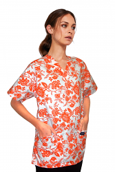 Top v neck 2 pocket half sleeve in petal orange print