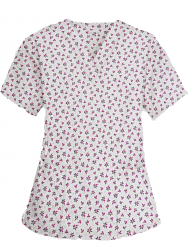 Top v neck 2 pocket half sleeve in Pink And Black Flower Print