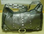 Ladies rexine hand bag in grey color