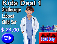 Kids deal 1(stethoscope,kid labcoat,kids scrub set)