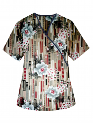 Top mock wrap 3 pocket half sleeve in Flower and Shapes Print with black piping