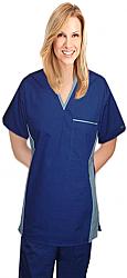 Set unisex 4 pocket v-neck matching style solid half sleeve (top 1 pocket with bottom 3 pocket)