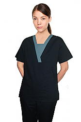 Contrast v-neck insert trim 4 pocket set pleats half sleeve with matching bottom (top 2 pkt with bottom 2 pkt boot cut)