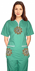 Stylish top big golden flower tunic style top 2 pocket half sleeve