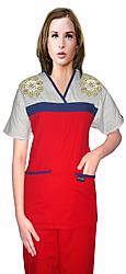 Stylish top golden flower empire wrap style top 2 pocket half sleeve