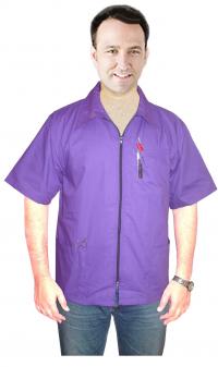 Barber jacket 3 pockets half sleeve with zipper poplin fabric