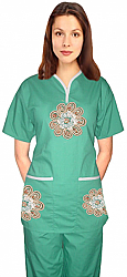 Stylish set big golden flower tunic style set  half sleeve (top 2pkt with bottom 3pkt)