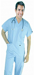 Scrub set 6 pocket solid unisex with 1 pencil pocket half sleeve (3 pocket top with 1 pencil pocket 3 pocket pant)