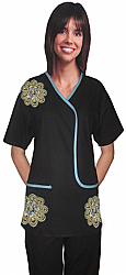 Stylish top big golden flower l style top 2 pocket half sleeve
