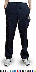 Pant 6 pocket 2 side pocket 2 cargo pocket with cell phone pocket 1 back pocket half elastic waistband unisex
