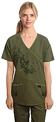 Stylish scrub set with mock wrap tree print 5 pocket  (top 3 pocket with bottom 2 pocket boot cut