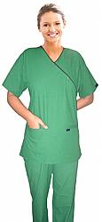 A_scrub set 4 pocket solid ladies half sleeve mockwrap side with snap buttons with welt pocket (2 pocket top 2 pocket boot cut pant)