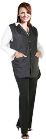 Barber jacket sleeve less ladies 2 front pocket with front snap button style (100 perc polyester) nylon fabric